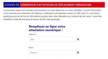 Mise à disposition d'un dispositif numérique d'attestation de déplacement